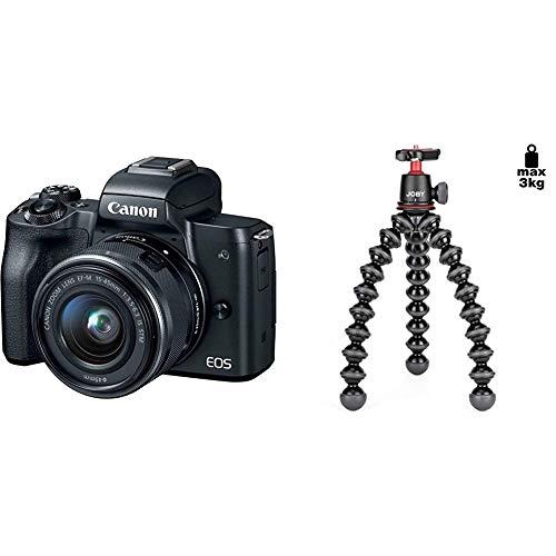 Canon EOS M50 Mirrorless Camera Kit w/EF-M15-45mm and 4K Video - Black & Joby GorillaPod 3K Kit. Compact Tripod 3K Stand and Ballhead 3K. Black/Charcoal.