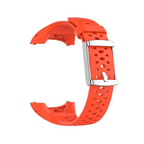 KINOEHOO Ersatzarmband kompatibel mit Polar M400 M430 Edelstahl Armband Weiche Silikon Uhrenarmbänder.(Orange)