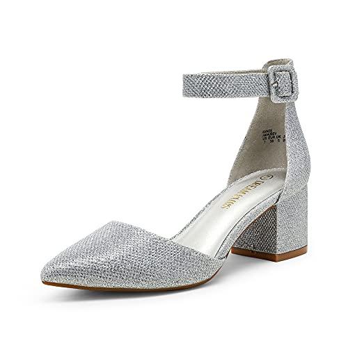 DREAM PAIRS Women s Annee Silver Glitter Low Heel Pump Shoes Size 9 M US