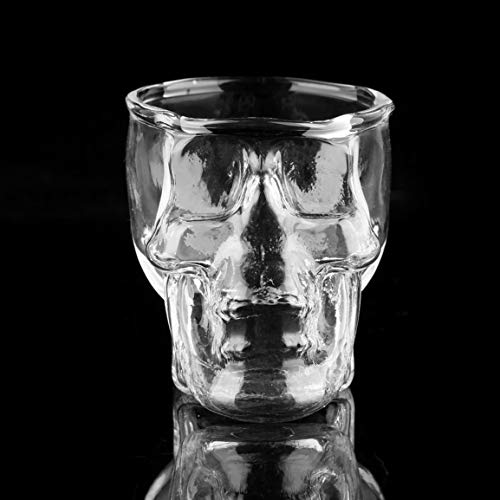 Kurphy Vaso transparente con cabeza de cráneo para vodka Whisky, cerveza, para la casa, novedad, taza para vino, taza regalo