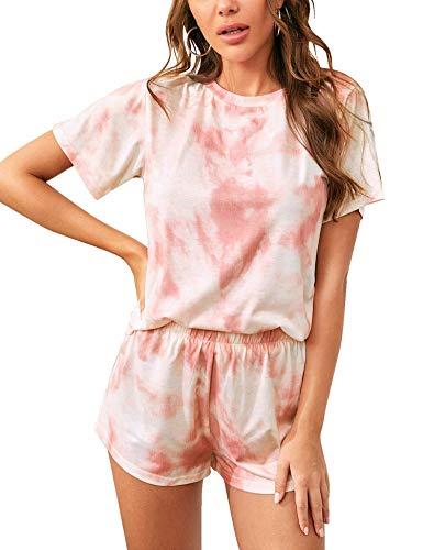 Aoymay Womens Tie Dye Printed Pajama Sets Leisure Lounger Sleep Wear Baby Pink