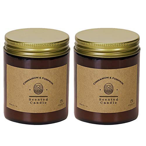 Chloefu LAN Pumpkin Cinnamon Scented Candle Sets Fall Soy Wax Candle Tobacco Vanilla Bergamot 7.1oz|45 Hour Long Lasting Aromatherapy Soy Candle Glass Jar Home Decor 2 Pack