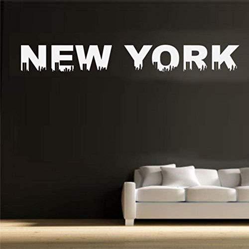 New York Schriftzug Muster Zitate Abnehmbare Wandaufkleber für Wohnzimmer Modern Style Vinyl Wallpaper Decals Schlafzimmer Wandbild 160x20cm