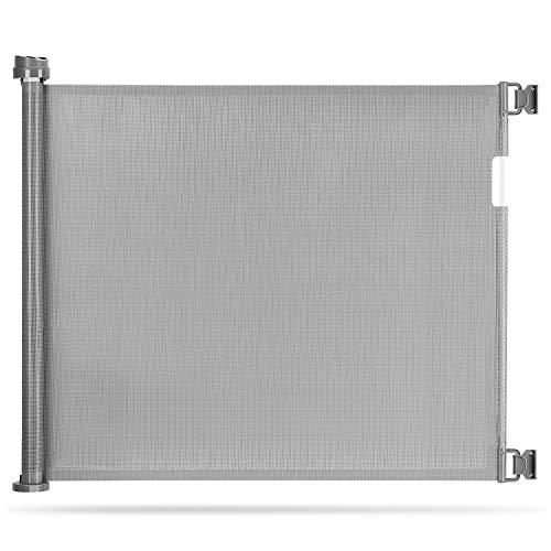 Momcozy Türschutzgitter Treppenschutzgitter Roll, 0-140cm Einziehbares Tür- und Treppenschutzgitter für Babys und Haustiere, Baby Absperrgitter Ausziehbar, Geeignet für Innen- und Außenbereich, Grau