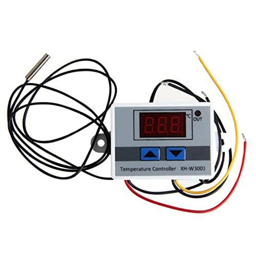 QiKun-Home Xh-W3001 termostato Digital Interruptor de Temperatura Controlador de microordenador termorregulador Control de refrigeración de calefacción Blanco + Negro 12v