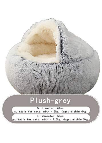 Dick Und Warm Im Winter, Halb-eingezäunt, Plüsch-Haustier-Bett, Haustier-Nest (50cm,Grey Long Plush)