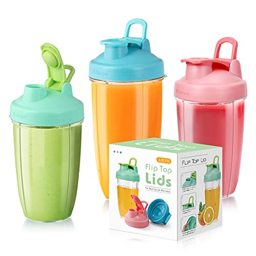 AIEVE 3 Pack Flip Top To-go Lid for Nutribullet Blender for Shakes and Smoothies, Blender Replacement Parts Compatible with NutriBullet Cups of 600W, 900W, NB-101B, 900 Pro Serie, (Cups Not Included)