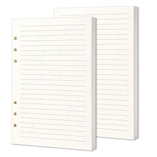 2 Stück A5-Nachfüllpapier, 320 Seiten/160 Blatt A5-Einsatz, liniertes Papier, 6 Löcher, lose Blätter, gelocht, Nachfüllpackung für Tagebuch, Notizbuch, Nachfüllpackungen