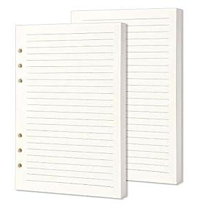 Papel de repuesto A5, 2 unidades, 320 páginas/160 hojas A5, papel rayado, 6 agujeros, hoja suelta, papel perforado, para recambios de cuadernos diarios.