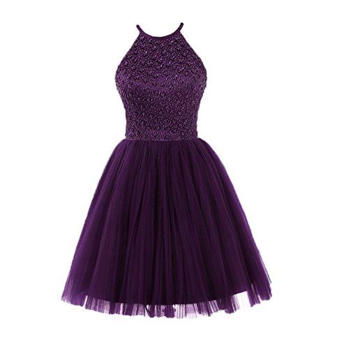 Ubridal Short Beading Keyhole Back Tulle Homecoming Dresses Prom Gowns purple 6