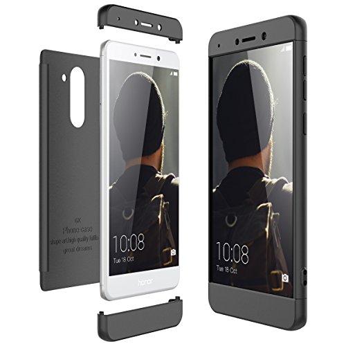 CE-Link für Huawei Honor 6X Hülle Hardcase 3 in 1 Ultra Dünn 361 Full Body Schutz Schutzhülle Anti-Kratzer Elegant Stoßfest Hart PC Skin Rückdeckel Glatte Rückseite Bumper Handyhülle - Schwarz