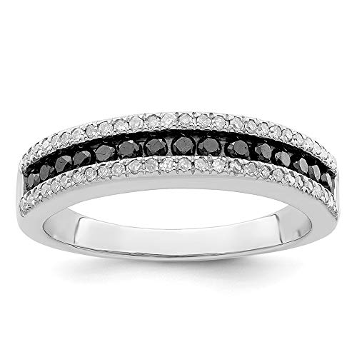 925 Sterling Silver Rhod Plated Black White Diamond Band Ring Size 8.00 Night Fine Jewellery For Women Gifts For Her