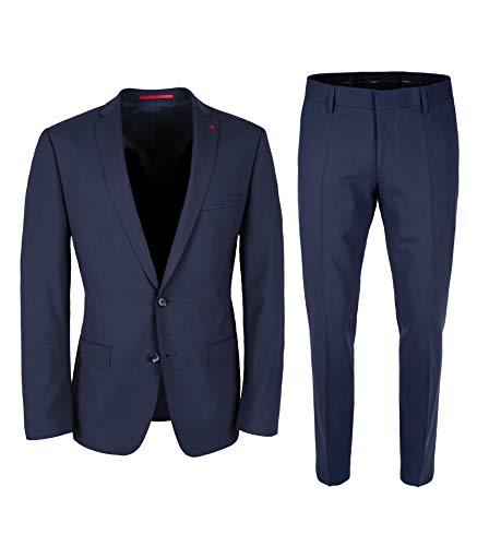 Roy Robson Herren Anzug Slim Fit 2-teilig aus Schurwolle Mix Business Stretch Abendanzug - Set, Italienisches Blau, 50
