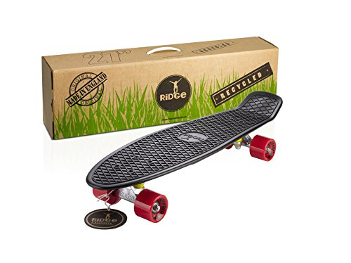 Ridge Skateboards Recycled Cruiser Skateboard, Nero/Rosso, 27'