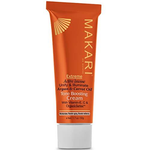 Makari Extreme Carrot & Argan Oil Toning FACE Cream 1.7oz – Lightening, Brightening & Tightening Moisturizer with Organiclarine – Anti-Aging Whitening Treatment for Dark Spots, Acne & Freckles