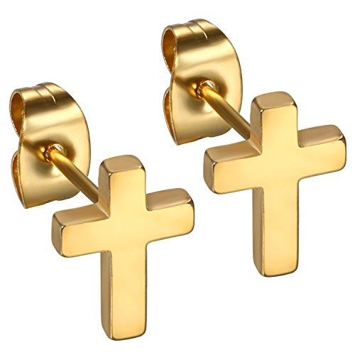 Flongo Pendientes de cruz aretes de acero inoxidable, Pendientes para hombre mujer negros plateados dorados, Pulidos cruz pendientes pequeños de estilo,Regalo Navidad