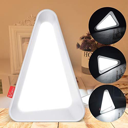TESECU Kreative Triangular LED Tischlampe, 【3 Modi über Flip-Induktion】Schwerkraft Sensor Flip-Lampe USB-Aufladung Nachtlicht Eingebauter Akku zum Schlafen Lesen Nachttischlampe - Weißes Licht