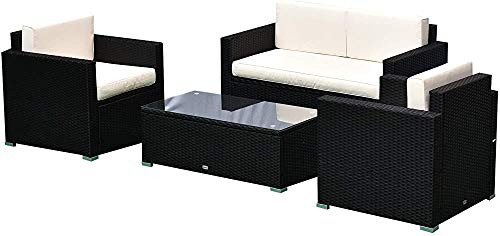 Muebles de jardín conjunto 4 asientos vaso grande bandeja de templado cómoda mesa de centro tejida de resina de cojín crema negro,Black