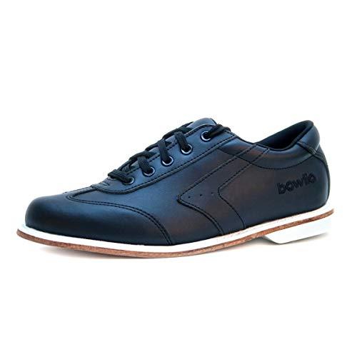 Bowlio Nero Bowlingschuhe aus Leder in Schwarz mit Ledersohle, Größe:44, Farbe:Schwarz