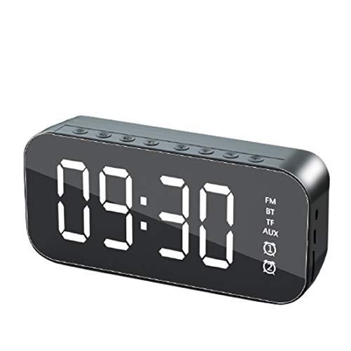 DEVELE Altavoces Inalámbricos Bluetooth con Sonido Estéreo Fuerte Altavoz de Subwoofer Portátil Multifunción Pantalla LED Reloj Despertador Efecto Espejo Reproducción FM