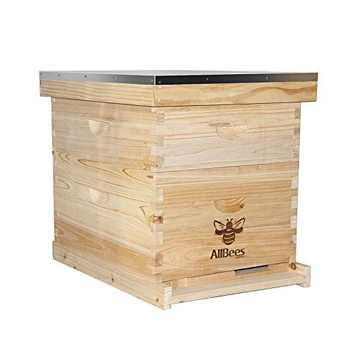 AliBees Bee Hive with 10 Medium &10 Deep Honeycomb Foundation Frames, Includes Cedarwood Frames &...