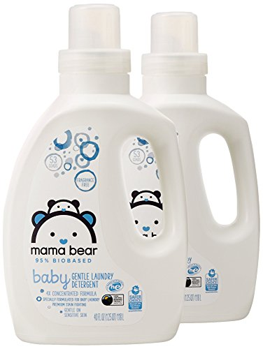 Amazon Brand - Mama Bear Gentle Baby Laundry Detergent, 95% Biobased, Fragrance Free, 53 Loads Each 40 Fl Oz (Pack of 2)