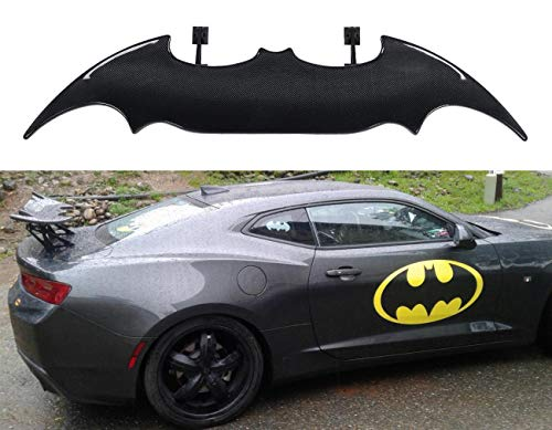 "ICBEAMER 55"" Batman Style Real Carbon Fiber Adjustable Rear Trunk Auto Spoiler Wing w/Rear Brake LED Stop Light Strips"