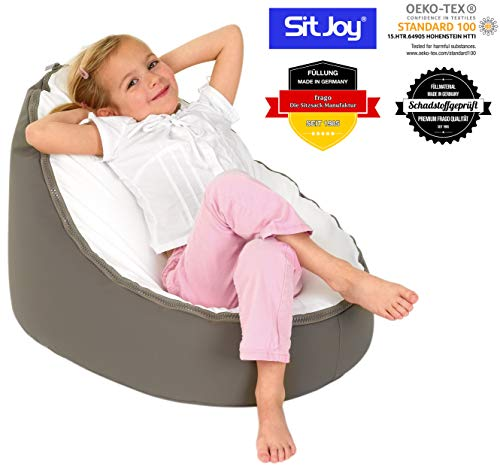 Sitjoy Baby-Sitzsack doomoo | Toxproof-Perlen Füllung | Original Taupe | Liegekissen – Lagerungskissen