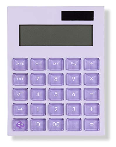 Kate Spade New York Standard Function Desktop Calculator, Purple Acrylic Solar Powered Calculator, Colorblock