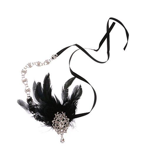 Bandeau à Plumes Fantaisie Hairband Noir