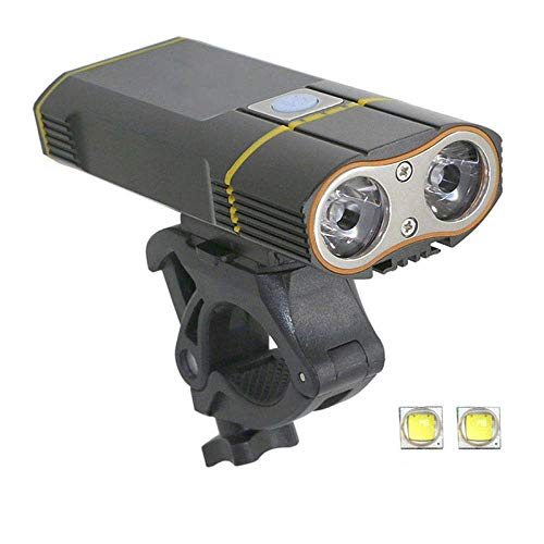 SFBBBO luz Bicicleta 6000LM Luz de Bicicleta 2X XML-L2 Luz de Bicicleta LED con batería Recargable USB Luz Delantera de Ciclismo + Juego de Montaje de Manillar AL2Bikelight