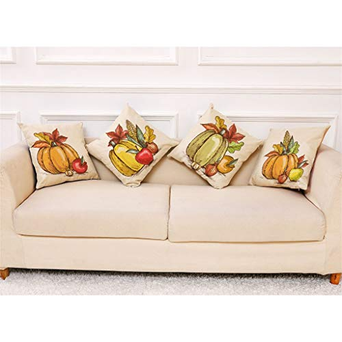 Shan-S Happy Fall Pillow Covers Decorative 18x18 Inches Grateful Thanksgiving Farmhouse Throw Pillowcase Autumn Pumpkin Cushion Case for Sofa Couch Home Decor Set of 4