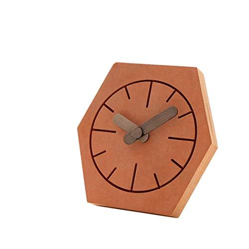 LXDDP Wooden Desk Clock Batteriebetriebener Präzisions-Silent-Scan-Mechanismus - Schöne Holzverkleidung für Ihr Schlafzimmer, Büro, Wohnzimmer, Kamin oder Badezimmer, Orange