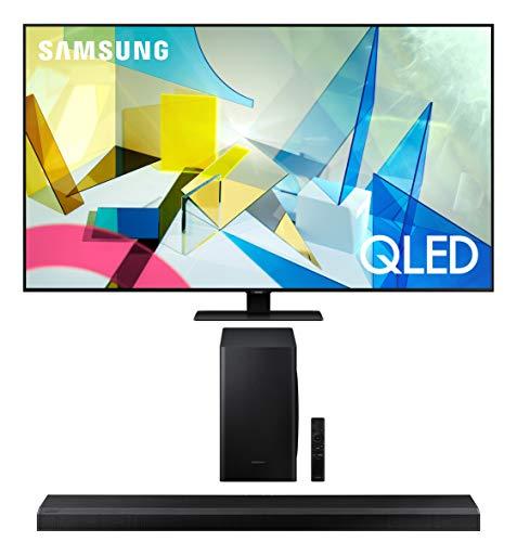 Samsung QN49Q80TA 49' QLED 4K Quantum HDR 8X Smart Ultra HD TV with a Samsung HW-Q70T 3.1.2 Ch Dolby Atmos Soundbar with Wireless Subwoofer (2020)