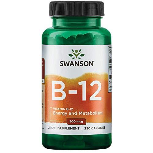 Swanson Vitamin B-12 (Cyanocobalamin) 500mcg, 250 Capsules,ITEM-RE-002263:UK-LABEL