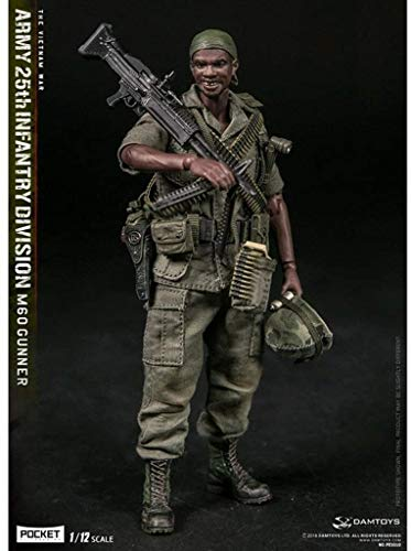 WSWJ 1/12 Scale Army Military Action Figure, 6 Inch U.S Army 25th Infantry Division M60 Gunner Field platoon Flexible Male Soldier Model Collection Military Toys Play Set for Male Gift
