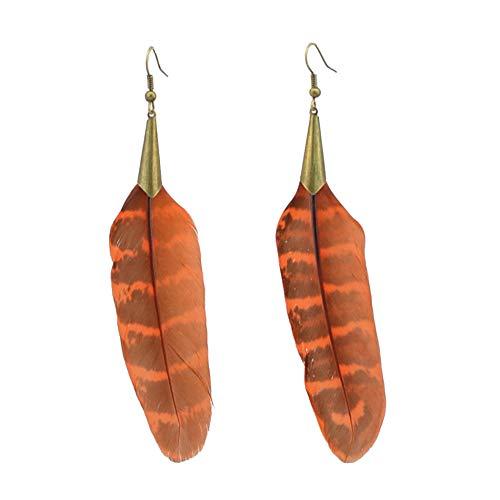 Pendientes de plumas étnicas de joyería europea y americana nuevos pendientes de bronce de moda mujer-naranja