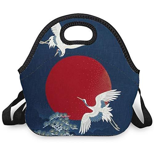Bolsa isotérmica con diseño de grúas japonesas y lunas, con cierre de cremallera, apta para oficinas y escuelas, color blanco, talla única