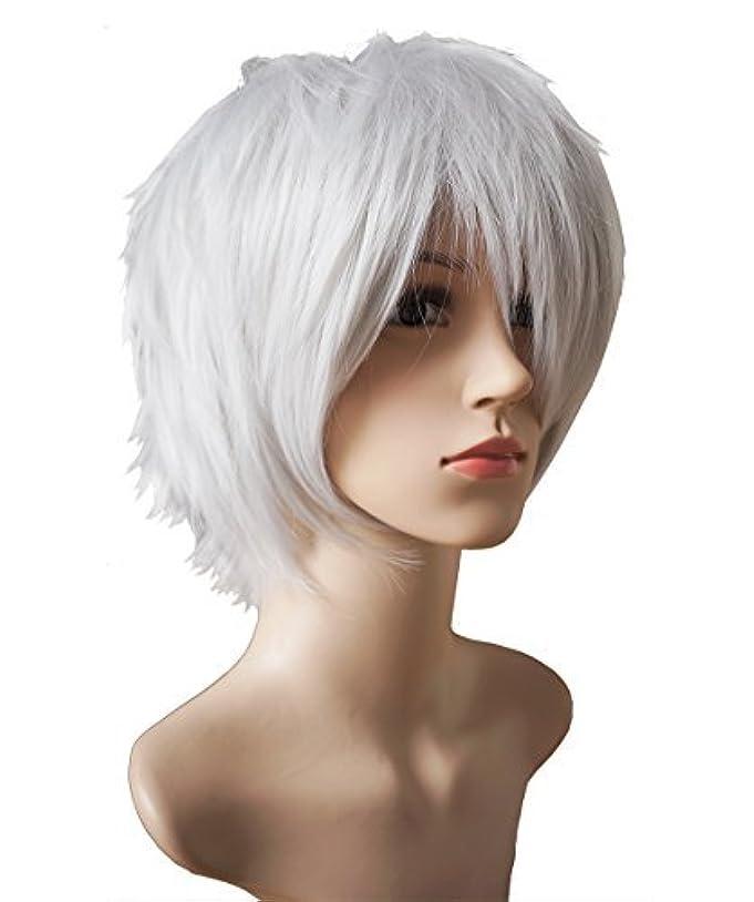 スリップオセアニアソビエトANOTHERME 別の私のレディース、メンズの層状の短いストレートかつらの銀白髪耐熱ファイバーウィッグパーティーコスプレ東京グールは県kanekiデスノート