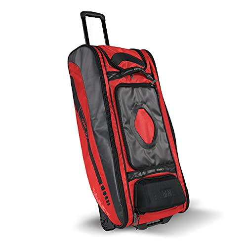 Bownet Cadet and Catcher Bag with Wheels and 14 Different Pockets- Softball & Baseball Catchers Bag - Youth Players & Coaches Equipment Gear Bag (Red) - 41x17x10.5