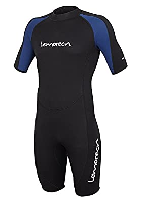 Lemorecn Wetsuits Mens Premium Neoprene Diving Suit 3mm Shorty Jumpsuit(3035,XL)