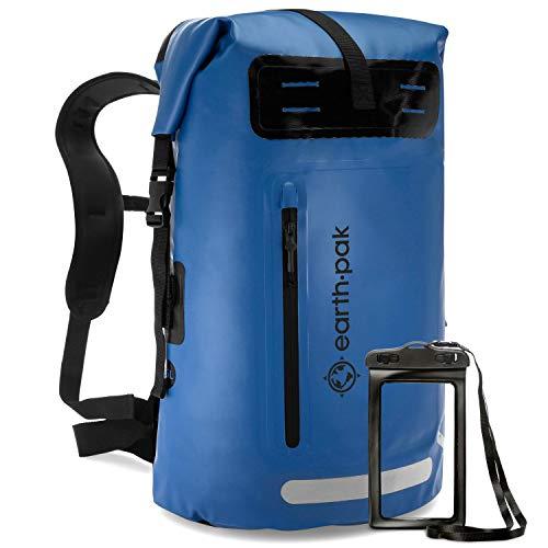 Earth Pak Summit Serie wasserdichter Rucksack, Backpack mit leistungsstarkem Reißverschluss und Rolltop, wasserfester Handyhülle Blau 35L
