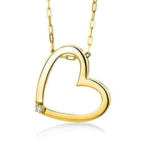 Miore Damen-Halskette mit Herz-Anhänger – Elegante Kette aus 9 kt. Gelbgold mit 0,01 ct. Diamant – Halsschmuck 45 cm lang, Gold