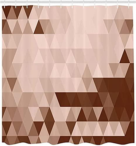PVC Duschvorhang Geometrischer Duschvorhang, Dreieck-Mosaik-Form-Muster Mit Abstraktem Digital-Effekt-Druck, Stoff-Stoff-Badezimmer-Dekor Mit Haken Braun-Beige