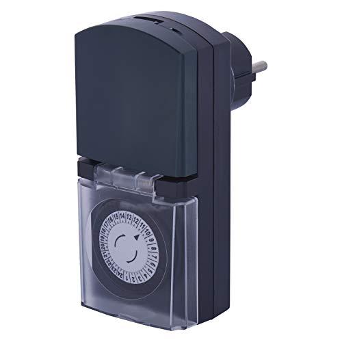 EMOS P5526 Mechanische Outdoor Zeitschaltuhr / IP44 Schuko-Steckdose für Außenbereich/Kindersicherung, Klappdeckel, Drehregler, 3680 W, 230 V, Grau, 20 x 8 cm