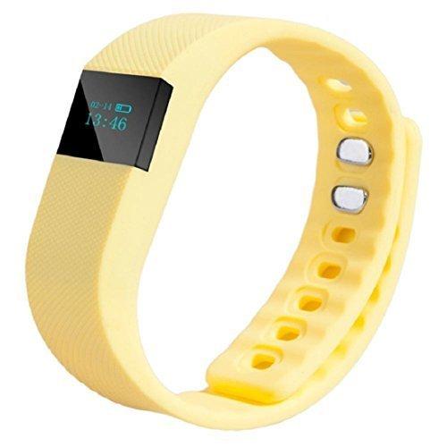 TW64 Smart Handgelenk Band Schlaf Fitness Tracker Pedometer Sport Armband Unterstützung iPhone 4s 5 5c 5s und IOS 6.1or über Android System 4.3 oder höher (Bluetooth 4.0) Gelb