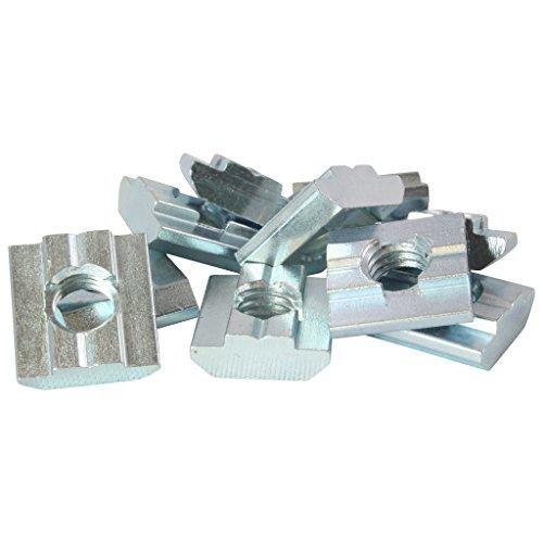 10x Nutenstein Nut 8 - Typ B - M8 mit Steg, schwer, Stahl verzinkt