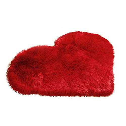 Mothcattl Alfombra de felpa con forma de corazón antideslizante para dormitorio, decoración del hogar, color rojo