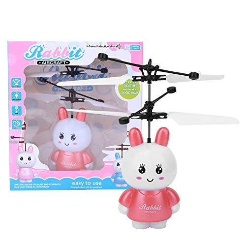 Avión de Juguete de inducción, Hermoso dron de inducción de Mosca RC, luz fría, identificación Inteligente, Maravilloso Juguete de dron de RC, para niños, niños(Rabbit Flying Machine)