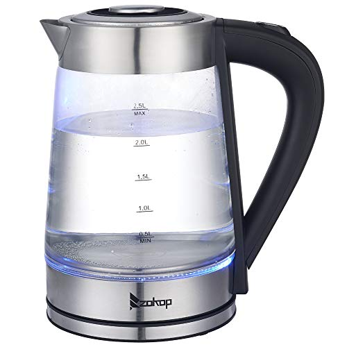 Autotipps Electric Kettle Glass Hot Water Kettle, 2.5L Water Warmer Cordless, Stainless Steel Lid & Bottom, Tea Kettle with Fast Heating, Auto Shut-Off & Boil Dry Protection